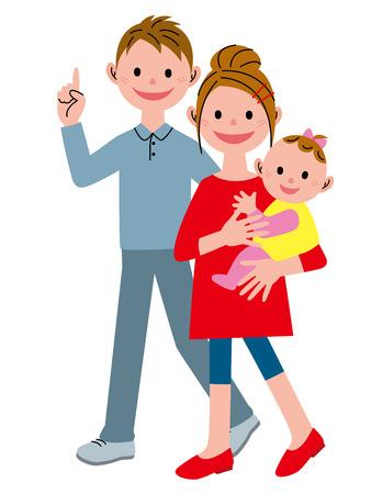 Jeune couple marche et bébé