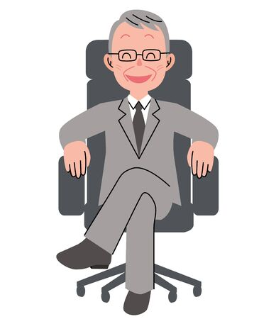 The senior man who sits down on a chair with a smile Ilustração