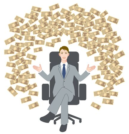 The young man who sits down on a chair and big money Illustration