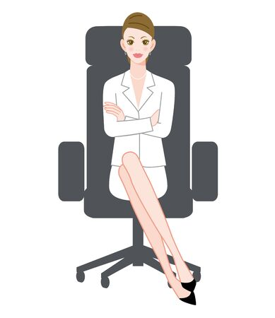 The young woman who sits down on a chair with an uneasy face Ilustracja