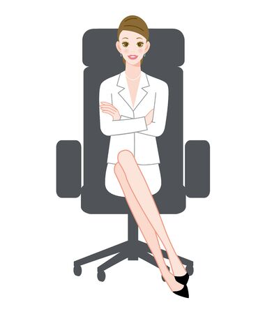 The young woman who sits down on a chair with a smile