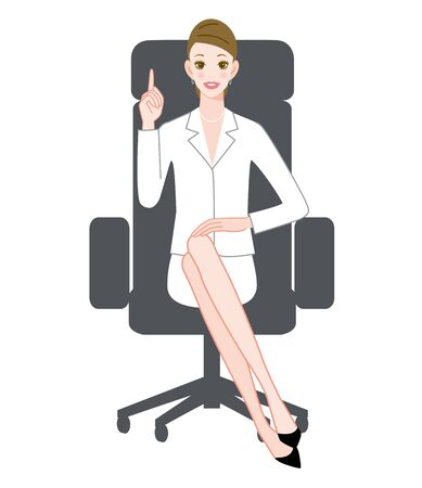 The young woman who sits down on a chair with index finger