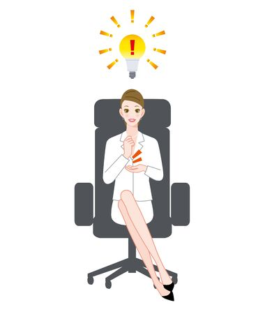 The young woman who sits down on a chair and electric lamp