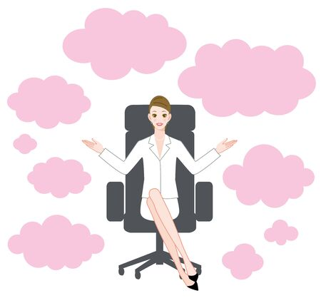 The young woman who sits down on a chair and speech bubble