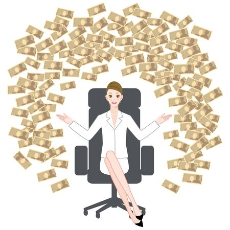 The young woman who sits down on a chair and big money Ilustracja