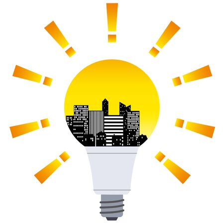 The silhouette of the city  in the light bulb