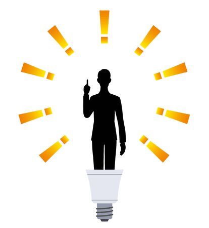 The silhouette of the man who points in the light bulb Ilustracja