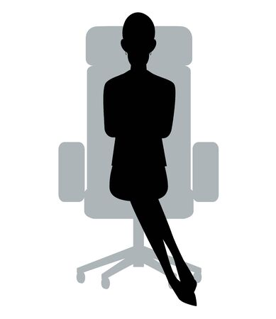 The silhouette of the businesswoman who sits down on a chair