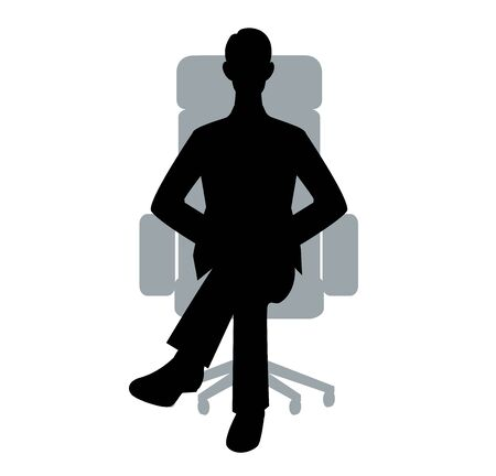 The silhouette of the businessman who sits down on a chair Illustration