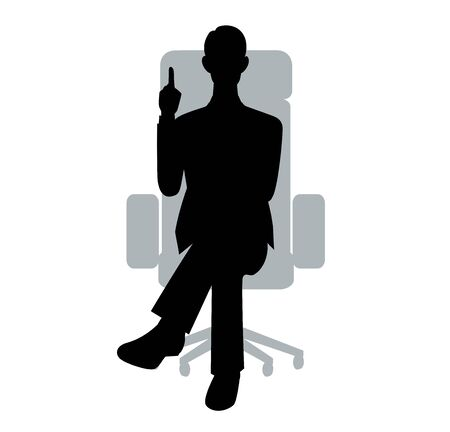 The silhouette of the businessman who sits down on a chair Ilustração