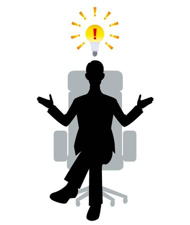 The silhouette of the businessman who sits down on a chair Ilustracja