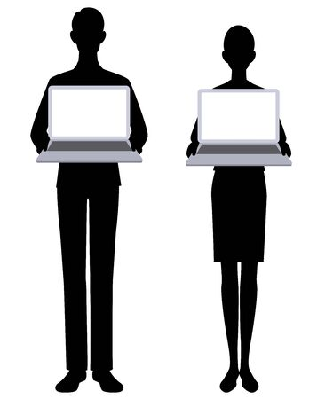 The silhouette of the businessmen and  pc Illustration