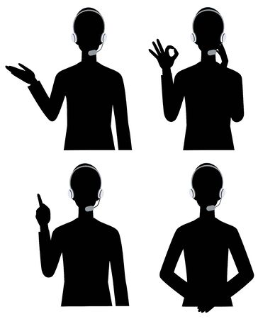 The silhouette of the businesswoman Operator variation Ilustracja