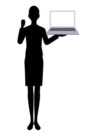The silhouette of the businesswoman and  pc Ilustracja