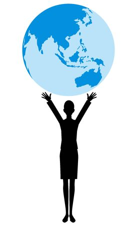 The silhouette of the people and the earth