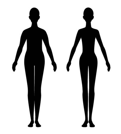 The silhouette of a before after diet woman