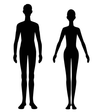 The silhouette of a before after diet man