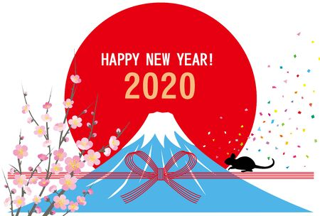 Sunrise and Fuji mountain 2020 new years card