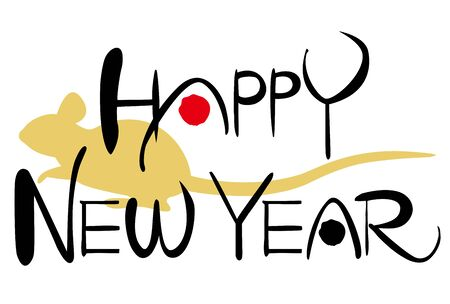 Hand drawn vector calligraphy. Happy New Year. 2020 Year of the Mouse in Japan. Ilustracja