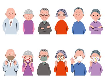 old people have not a mask. old people with hand-made mask. Ilustrace