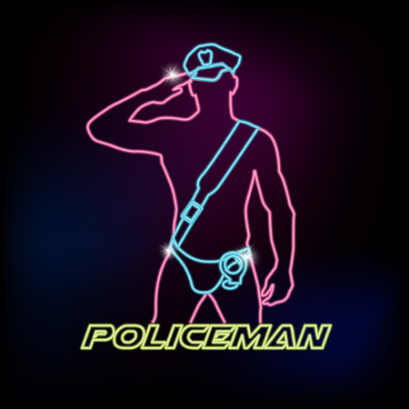 officier de police: Neon sign avec la silhouette de policier