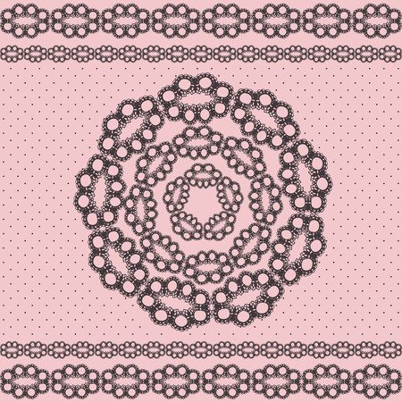 banding: illustration of black and pink lace stripes and ci