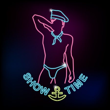 Show time neon sign with silhouette of sailor man Vectores