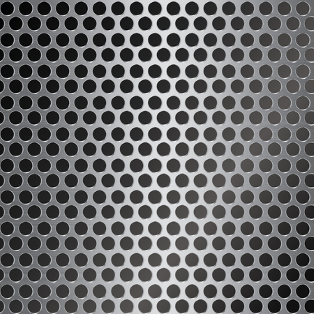 silver metal background with round hole Illustration