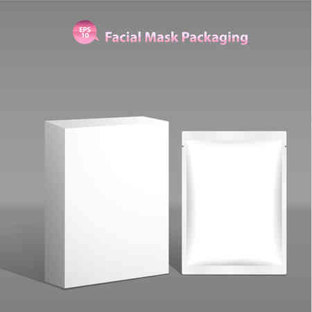 beauty mask: Paper facial mask for cosmetics and Sachet and Box Packaging
