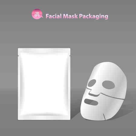 화장품, 향 주머니 포장 종이 얼굴 마스크 일러스트