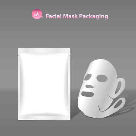 sachet: Paper facial mask for cosmetics and Sachet Packaging