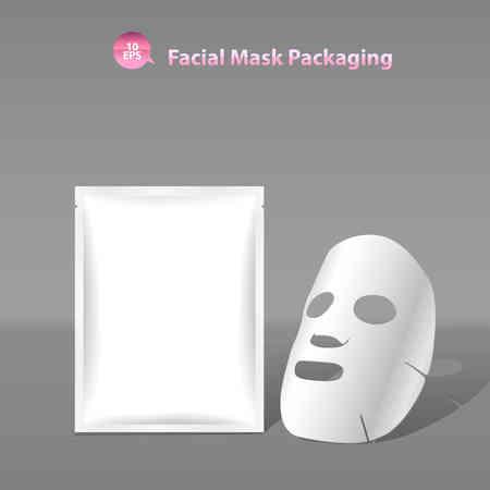 schönheit: Papier Gesichtsmaske für Kosmetika und Sachet Verpackung Illustration