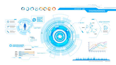 의료 및 건강 실험실 분석을위한 미래 지향적 인 사용자 인터페이스 일러스트