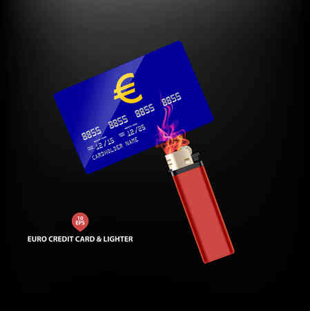 pocketbook: Euro symbol on Credit card with lighter and fire