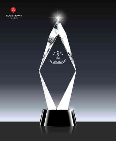 nameplate: Realistic 5 Star award Glass Trophy in Crystal shape