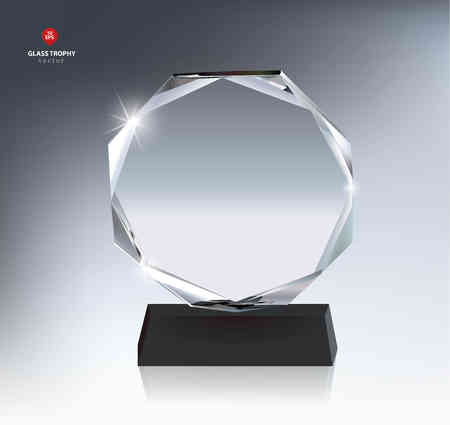 Realistic Blank Glass Trophy Award Çizim