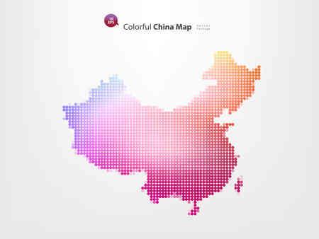 다채로운 픽셀 중국지도 스톡 콘텐츠 - 55482037