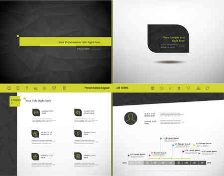 slide show: Set of Presentation Template and 20 Icons, Business infographic Element, Layout design, Lowpoly Modern Style, Slide Design Illustration