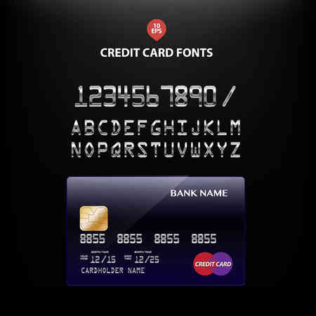 international bank account number: Templates of credit cards fonts design with a polygon background, Isolated