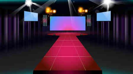 Escenario y la pista con cortinas de color púrpura, la pantalla y el proyector. fondo del vector