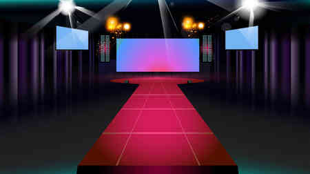Bühne und Laufsteg mit lila Vorhänge, Leinwand und Scheinwerfer. Vektor-Hintergrund