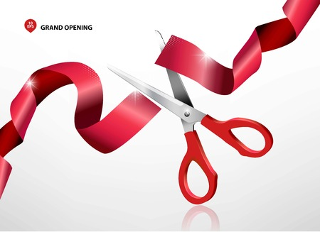 metal cutting: Grand opening with red ribbon and scissors