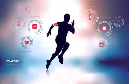 Poręczny technologia przydatności tracker, inteligentny telefon, monitor pracy serca i elegancki zegarek z Man Running sylwetka w tle rozmycia