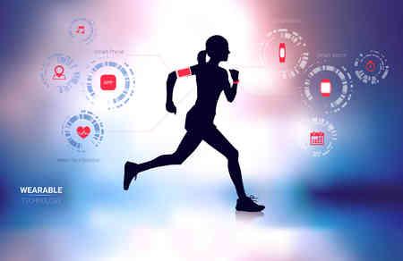 착용 성 기술 피트니스 트래커, 스마트 폰, 심박수 모니터 및 흐림 백그라운드에서 실루엣을 실행하는 여자와 스마트 시계