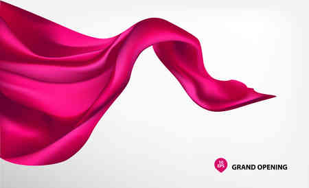 Peach pink silk fabric on white background for grand opening ceremony Иллюстрация