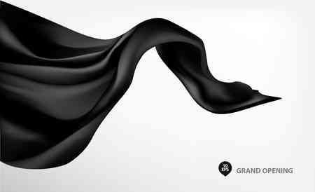 velvet ribbon: Black flying silk fabric on white background for grand opening ceremony