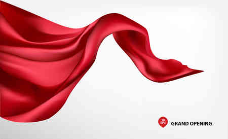 Red flying silk fabric on white background for grand opening ceremony Vectores