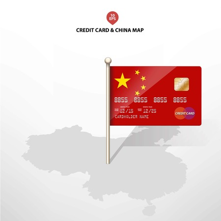 electronic commerce: China five stars flag with the credit card on the China Map