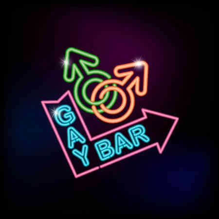 Vector neon Gay Bar sign vector illustration. Vectores