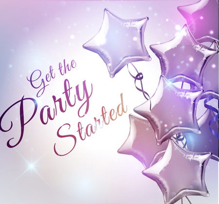 Get the Party Started background with star shaped balloons vector illustration.